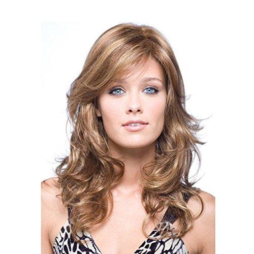 QQHair Fashion Long Curly Wave Ombre Perücke für Frauen Side Parting Brown Mix Blonde Farbe Highlights Natürliche wellige weiche Synthetik Haar Hitzebeständige Cosplay 68cm