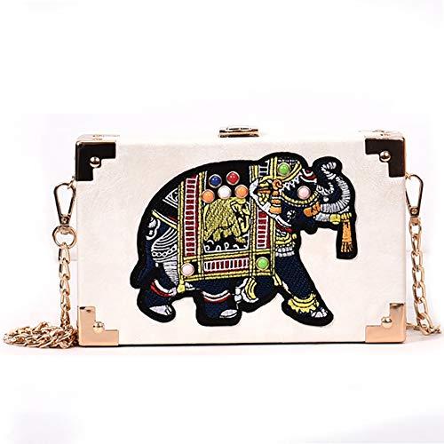 Qiulv Elefant Gestalten Crossbody Tasche Chian Dame Tote Schulter Bote Tasche Frau Platz Handtasche,White