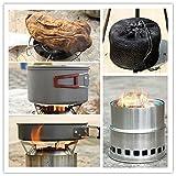 Forfar Holzofen Spiritus Ofen Tragbar Edelstahl Leicht für Picknick BBQ Camping Outdoor Kochen mit Netztasche - 5