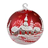 Celebration Glaskugel Windlicht Windlichtkugel mundgeblasen Handbemalt rot 15 cm