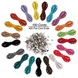 Cuerda de Cuero 100 Piezas - 1m X 3mm Cordón de Ante Falso con 400 Piezas de Accesorios de Joyería - Cuerda de Cuero para bricolaje Pulsera, Abalorios Fabricación de Bisutería