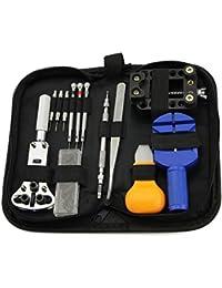 Kit de herramientas portátil para reparación de relojes (13 piezas), abridor de caja, extractor de eslabones, destornillador antimagnético, con funda de transporte