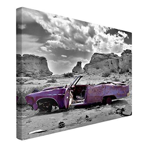 Bilderwelten Leinwandbild Schwarz-Weiß - Pink Cadillac - Quer 2:3, 120cm x 180cm