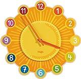 HABA 302308 – Wanduhr Zaubersonne, Gute-Laune-Wanduhr, Kinderuhr mit Ø 25cm für die Wand aus Sperrholz, Lernuhr-Funktion dank Zifferblatt mit Minuten, Blickfang fürs Kinderzimmer