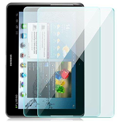 Saxonia 2x Displayschutz Folie aus Gehärtetem Glas für Samsung Galaxy Tab 2 (10,1