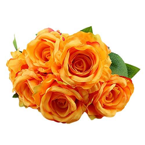 Sunnyuk Kunstblumen, Unechte Blumen Künstliche Deko Blumen Braut Hochzeitsblumenstrauß Wohn Deko Garten Party Blumenarrangements (Orange) -