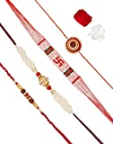 Aheli Pack of 4 Rakhi for Men with Roli Chawal Tilak - Religious OM Swastik Rudraksha Golden Ball (AR4P1)