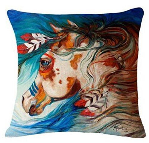 Baumwolle Leinen Quadratisch Kissenbezug dekorativer Überwurf-Hot indischen Pferde Design bedruckt 45,7x 45,7cm multi