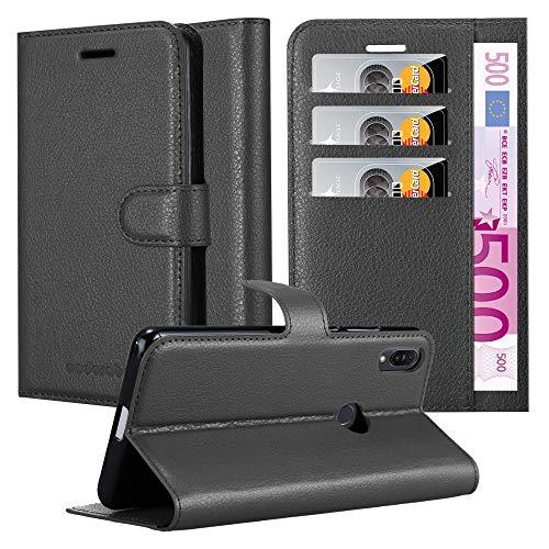 Cadorabo Hülle für Asus ZenFone MAX Plus M1 - Hülle in Phantom SCHWARZ - Handyhülle mit Kartenfach & Standfunktion - Case Cover Schutzhülle Etui Tasche Book Klapp Style