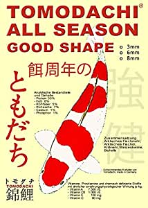 Koifutter Tomodachi All Season Good Shape, Schwimmfutter, professionelles Ganzjahresfutter für Koi jeden Alters 10kg, 6 mm Koipellets