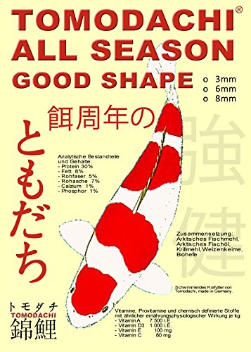Tomodachi All Season Good Shape Schwimmfutter für Koi 15kg, 6mm Koipellets