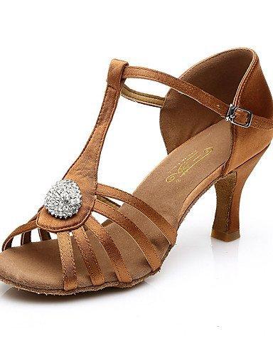 ShangYi Chaussures de danse(Noir / Marron) -Non Personnalisables-Talon Bas-Satin / Cuir-Ventre / Latine / Jazz / Baskets de Danse / Samba / Brown