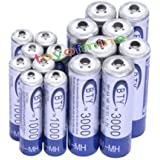 8 AA+8 AAA 1000mAh 3000mAh 1.2V BTY NI-MH Rechargeable Battery IncShop Cell/RC MP3