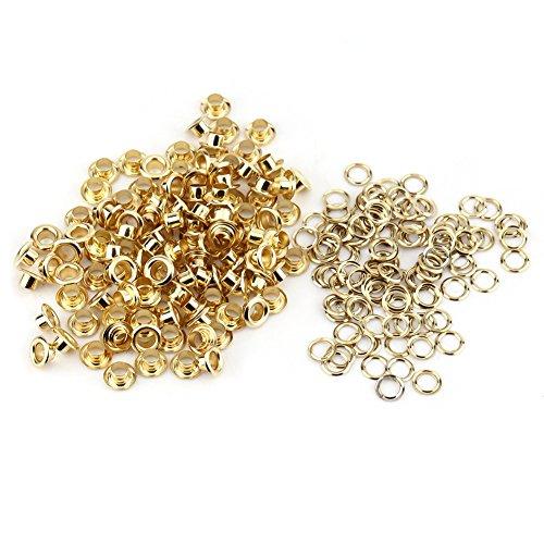 Ösen Nieten, 100 stücke 5mm Metall Ösen und Scheiben für DIY Leder Handwerk Stoff Gürtel Locher Rahmung Dekoration(Gold) -