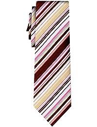 cravate soie rayée fine stripe pink brown white