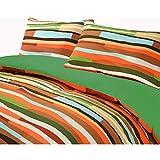 HDN Wave Reversible Printed Poly Cotton Duvet Cover & Pillowcase Set - Double - Green