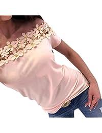 Blusa de Encaje de Mujer Fuera del Hombro,Moda para Mujer Fuera del