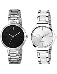 INDICARE Analogue Black and White Metal Belt Girl's Watch - Pack of 2