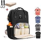 Baby Wickelrucksack mit 2 Pcs Kinderwagen-haken und 1 Pcs Wickelunterlage, Multifunktionale Wasserdichte Wickeltasche mit große Kapazität und warme Tasche, Babytasche für Reise (schwarz)