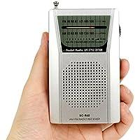 Sannysis - Radio portátil digital (AM/FM, DC 3V AAX2 baterías), radios pequeñas de bolsillo de pilas con conector para auriculares de 3,5 mm, color plata (BC-R60)