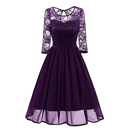 MAYOGO Kleid Damen Elegant Vintage 50er Spitze Kleid mit Tüll Langarm Cocktail Party Rockabill Kleider Abendkleid