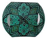 Assiette Céramique Mur mur Portée démarreur Contour Service service Décoratif Terre cuite peinte à la main Artisanat Marocain Ethnique Maroc 0310181153