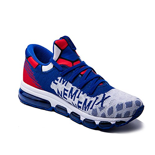 Onemix Mens And Womens Mid-Top Air Cushion Knit Walking Trainers Fitness Sports Running Shoes Blue White