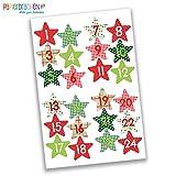 Papierdrachen 24 Adventskalender Zahlen Aufkleber - rot-grüne Sterne Nr 37 - Sticker zum Basteln und Dekorieren