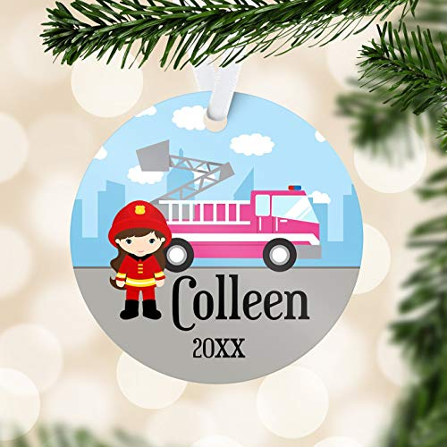 C-US-lmf379581 Fire Truck Ornament Pink Fire Engine Ornament Girl Fire Fighter Personalized Name Ornament You Pick Kid Personalized (Pink Fire Truck)