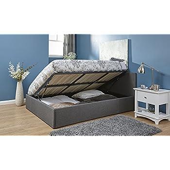 seattle ottoman storage bed side lift opening black 4ft. Black Bedroom Furniture Sets. Home Design Ideas