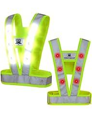 Protomax Chaleco de seguridad LED, Cavok, reflector, chaleco reflectante con 36ledes (Blanco delante | Rojo detrás), color amarillo, tamaño large