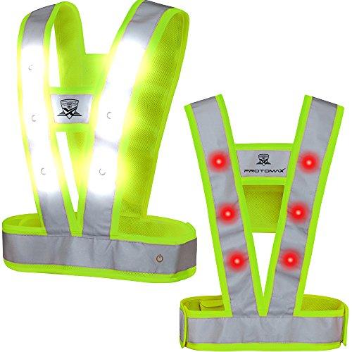 Preisvergleich Produktbild PROTOMAX LED Warnweste CAVOK, Reflektorweste, Schutzweste mit 36 LED (18 weiß vorne | 18 rot hinten), (XL, Neongrün)