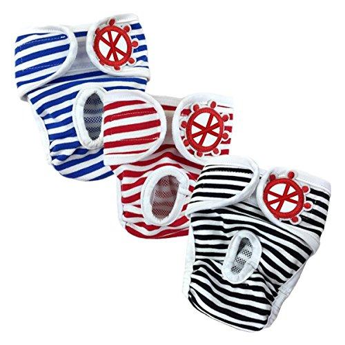 Namsan Einstellbare und waschbare Hundewindeln Hund Hygieneunterhose mit Magictape Werke für kleine bis mittlere Hündchen - L