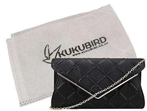 Liv Kukubird goffrato Cross Hatch Prom Partito metallo V dettaglio catena tracolla pochette borsa con sacchetto raccoglipolvere Kukubird Black