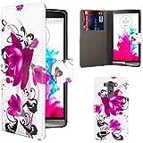 32nd® Funda carcasa Diseño de cuero sintético tipo libro billetera para LG G3, incluye protector de pantalla y paño de limpieza - Purple Rose