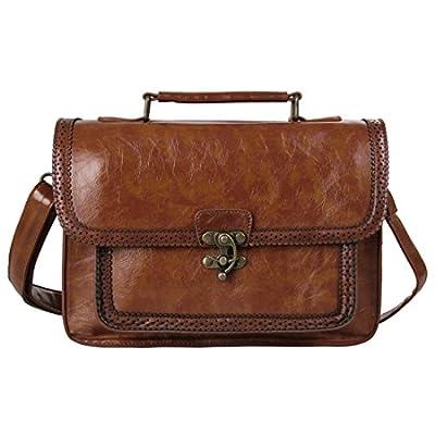 Ecosusi Cartable Vintage pour femme Sac à main Rétro Sac École porté épaule Sac bandoulière 27*8*18.5 cm