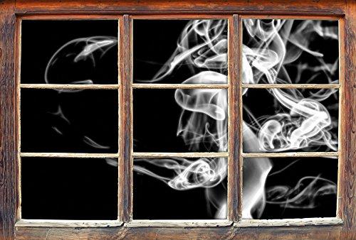 Stil.Zeit Monocrome, Dark Rauch in der Dunkelheit Fenster im 3D-Look, Wand- oder Türaufkleber Format: 62x42cm, Wandsticker, Wandtattoo, Wanddekoration