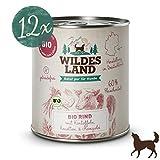 Wildes Land   Nassfutter für Hunde   Bio Rind   12 x 800 g   Getreidefrei & Hypoallergen   Extra hoher Fleischanteil von 60%   100% zertifizierte Bio-Zutaten Akzeptanz und Verträglichkeit