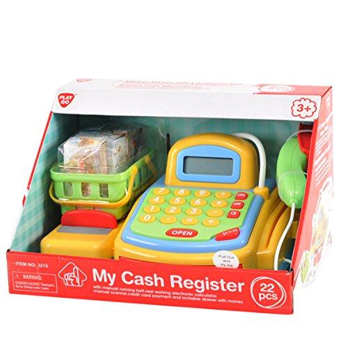 Preisvergleich Produktbild Playgo 3215 - Kasse mit handbetriebenem Transportband, elektronischem Rechner, Kreditkartenabrechnung und abschließbarer Schublade mit Geld, inklusive Einkaufskorb mit Zubehör
