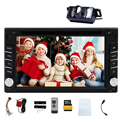 Doppel Mit Kamera Din Autoradio (Doppel-DIN-Autoradios in Dash 6.2 Zoll Digital-Bildschirm-Auto Audio-DVD-Spieler Windows-Stereoanlage Fernbedienung Autoradio Bluetooth 8GB Auto GPS-Karten-Karte Head Unit USB / SD Aux FM AM Radio Car Player mit Kamera)