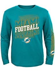 """Miami Dolphins Youth Jeunes NFL """"Frequency"""" Long Sleeve T-Shirt Chemise"""