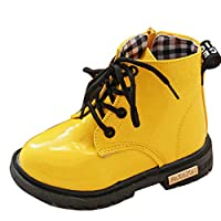 Gaorui Baby Toddler Girls Kids Boys Ankle Biker Boots Warm Fur Lined Boots Candy Color Patent Leather Children Wellies Casual Shoes Yellow