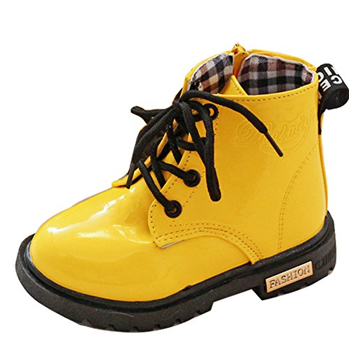 Baby Boy Girl Kids Children Ankle Biker Boots Lace-up Patent Waterproof Boots