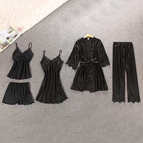 XMDNYE 5 stücke Sexy Dessous Pyjamas Set für Frauen Satin Seide Langarm Robes Set Leibchen Spitze Robe Tops Shorts Nachtwäsche Nachthemd - Langarm Nachthemd Thermo