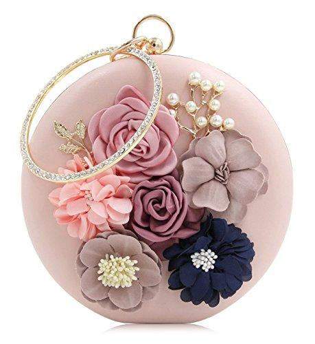 Onfashion Damen/Frauen/Mädchen heiße und gefragte neue rundliche erstklassige und edel mit Perle Handtasche für Bankett(Blau) Rosa