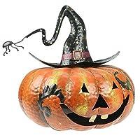 Large Metal Pumpkin Halloween Lantern With Spider
