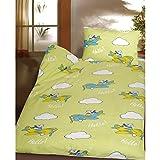 Biber Kinderbettwäsche 2 tlg. mit Bär im Flugzeug 100x135 cm 100% Baumwolle Bettwäschegarnitur für Kinder Grün