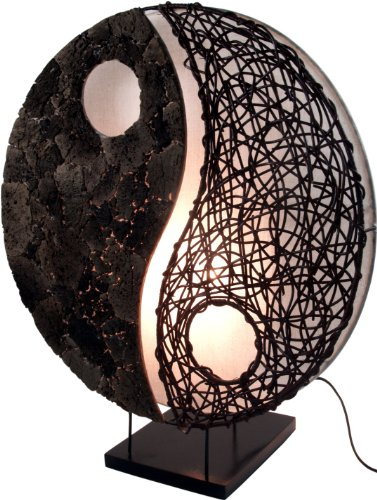 d76bf2a5a041f Guru-Shop Tischlampe Tischleuchte Yin   Yang Stone - in Bali Handgemacht  aus Naturmaterial