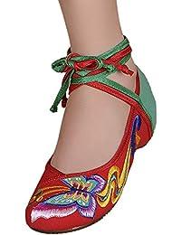 Icegrey Bordado Hecho A Mano Del Tobillo Ata Para Arriba El Resbalón En Los Zapatos Planos Para Las Mujeres