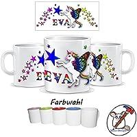 Kinder-Tasse mit Einhorn Motiv und Name / Tasse für Kinder mit Name / Einhorn / Farbwahl Tasse + Schriftwahl für Name + Keramik oder Kunststofftasse